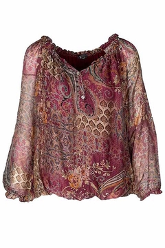 M made in Italy Cranberry Floral Button Down Blouse - Alternate List Image