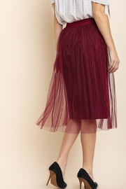 Umgee Cranberry Velvet Skirt - Front full body