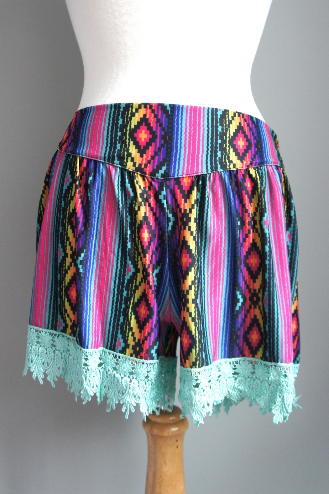 Crazy Train Aztec-Print Lace-Trim Shorts - Front Cropped Image