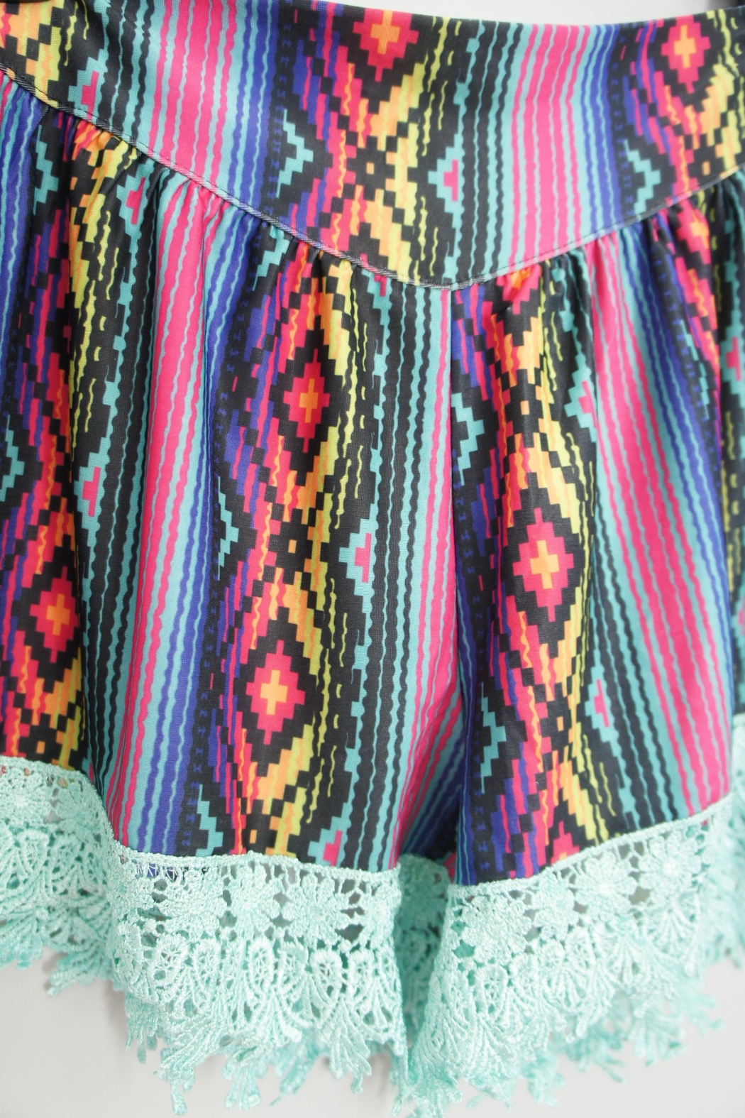 Crazy Train Aztec-Print Lace-Trim Shorts - Front Full Image