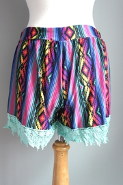 Crazy Train Aztec-Print Lace-Trim Shorts - Side cropped