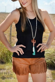 Crazy Train Cowgirl Fringe Shorts - Front cropped