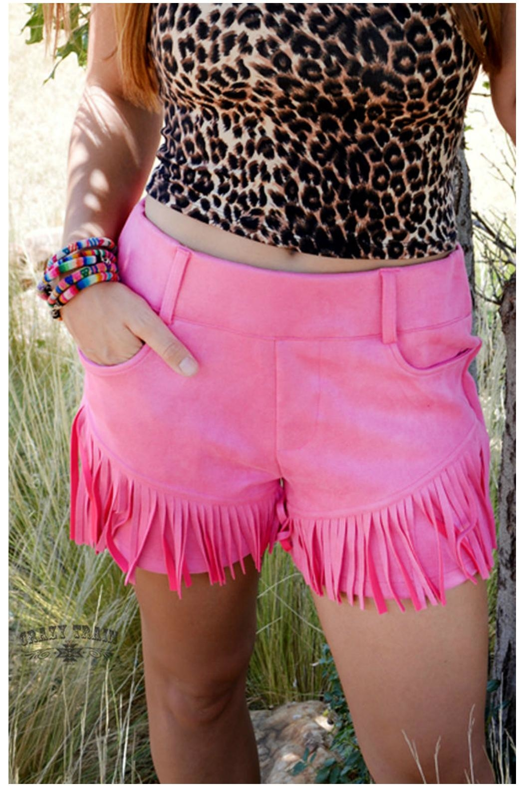 Crazy Train Cowgirl Fringe Shorts - Front Full Image