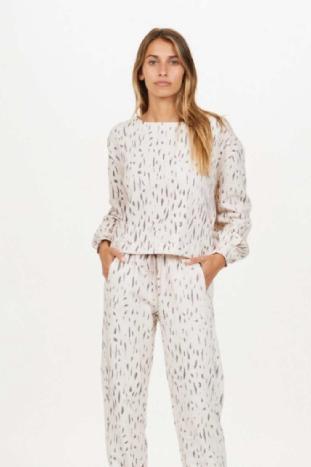 Upside Cream and Black Spotted Pull Over - Front Full Image