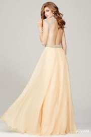 Jovani Cream and Pearl Evening Gown - Front full body