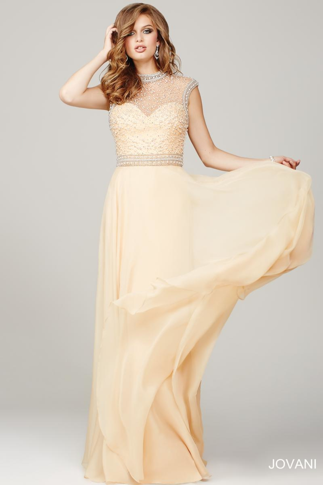 Jovani Cream and Pearl Evening Gown - Main Image