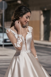 Rima Lav Cream Bridal Ballgown With Sleeves - Side cropped