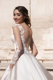 Rima Lav Cream Bridal Ballgown With Sleeves - Back cropped