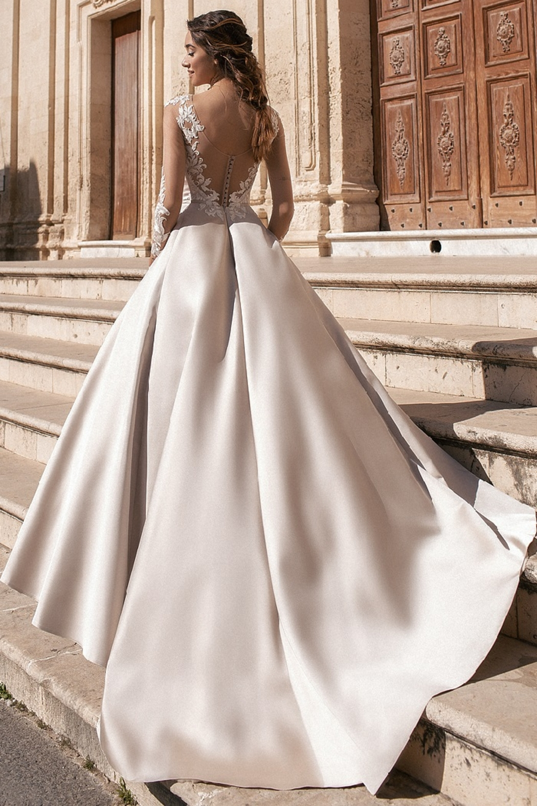 Rima Lav Cream Bridal Ballgown With Sleeves - Front Full Image