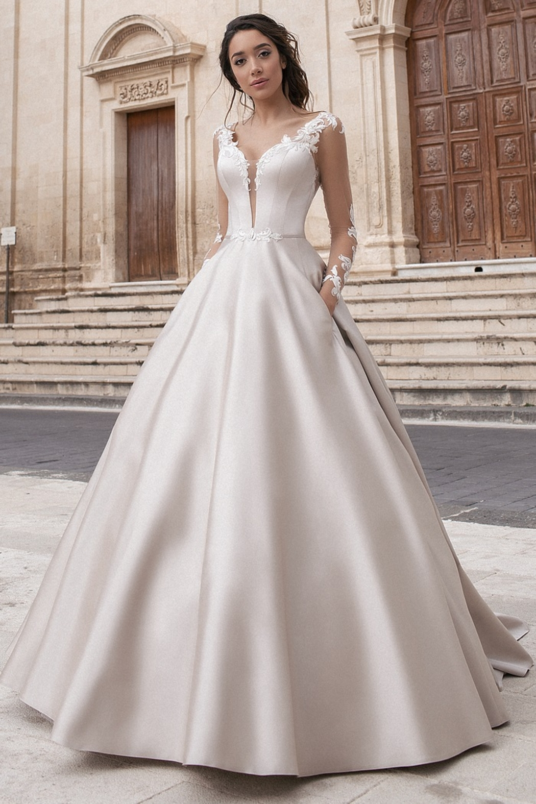 Rima Lav Cream Bridal Ballgown With Sleeves - Main Image