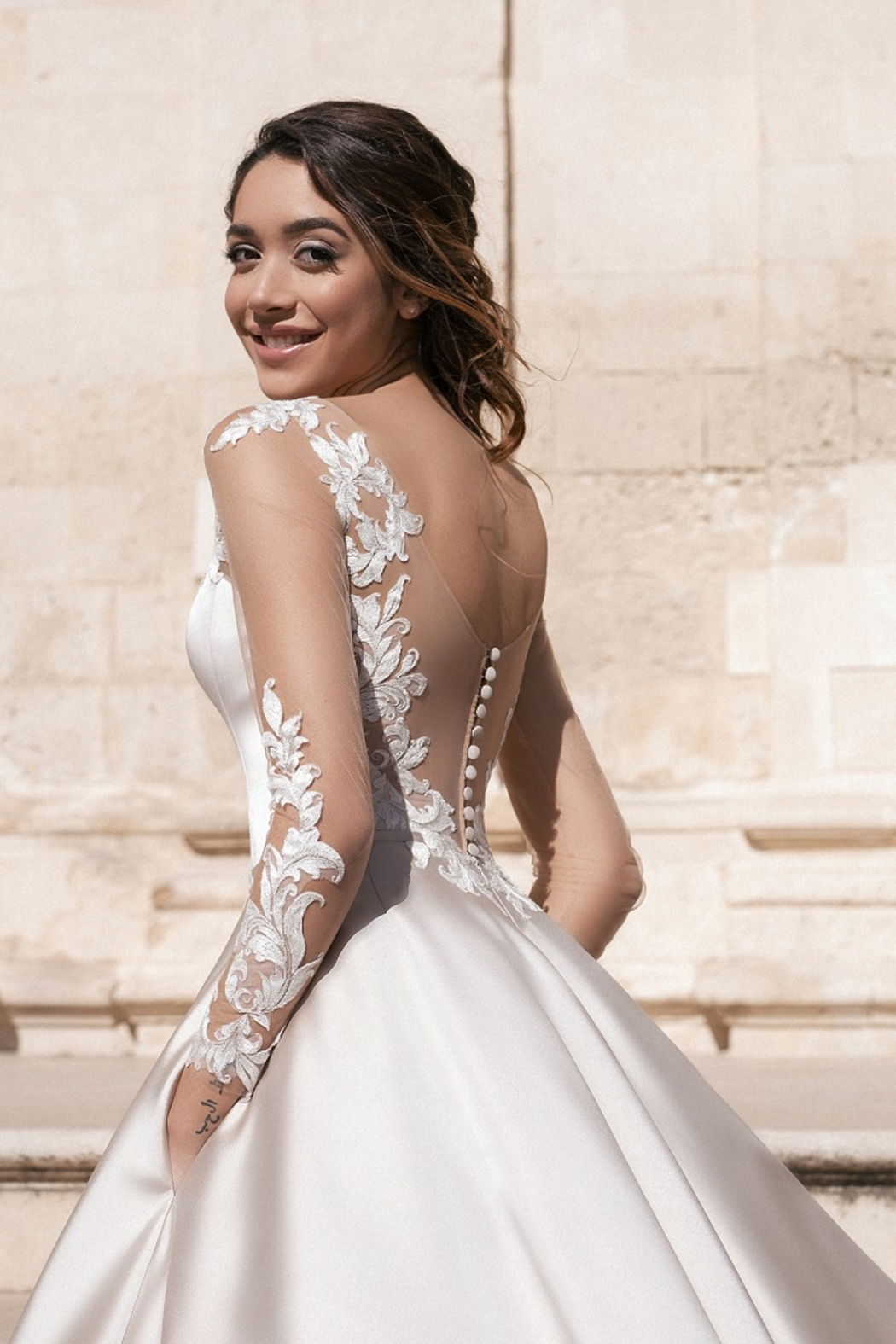Rima Lav Cream Bridal Ballgown With Sleeves - Back Cropped Image