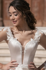 Rima Lav Cream Bridal Ballgown With Sleeves - Other