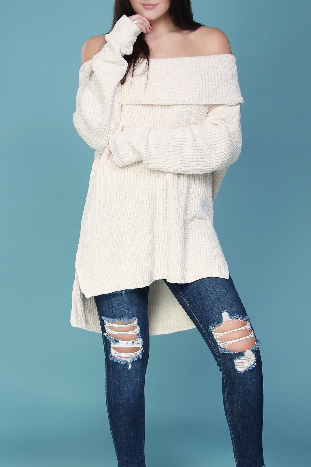 Wishlist Cream Chenille Sweater - Front Cropped Image