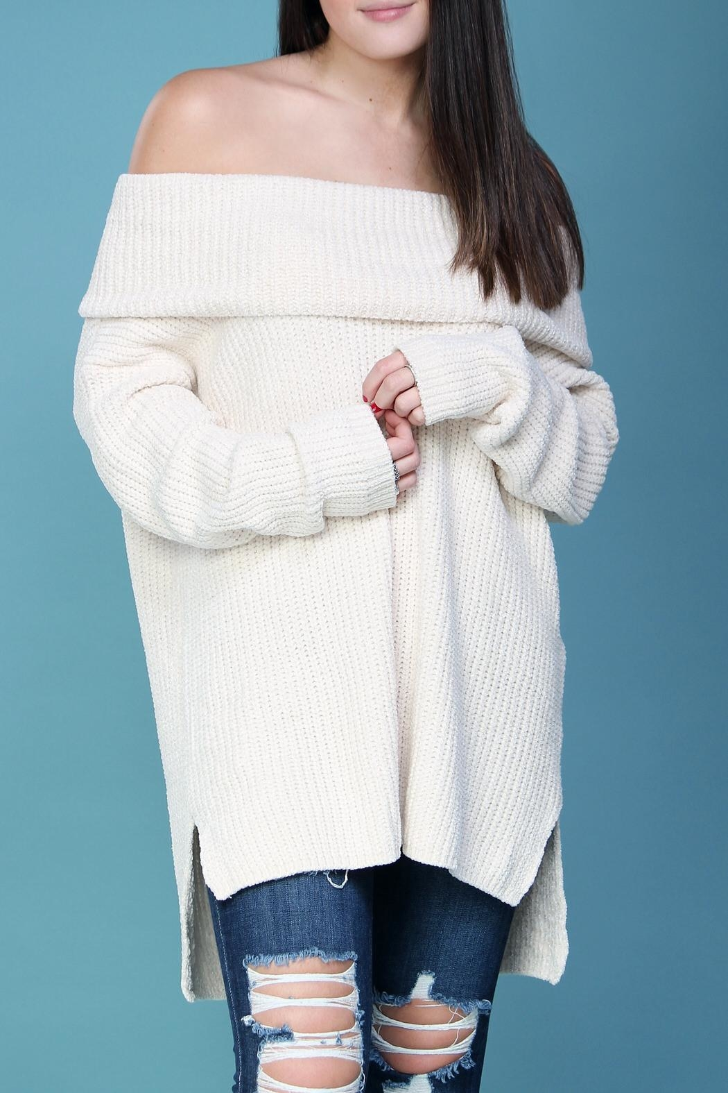 Wishlist Cream Chenille Sweater - Front Full Image