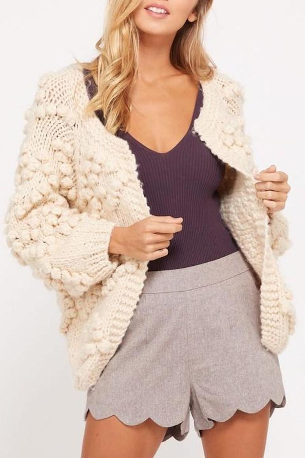 Wishlist Cream Chunky Pompom-Sweater - Front Cropped Image