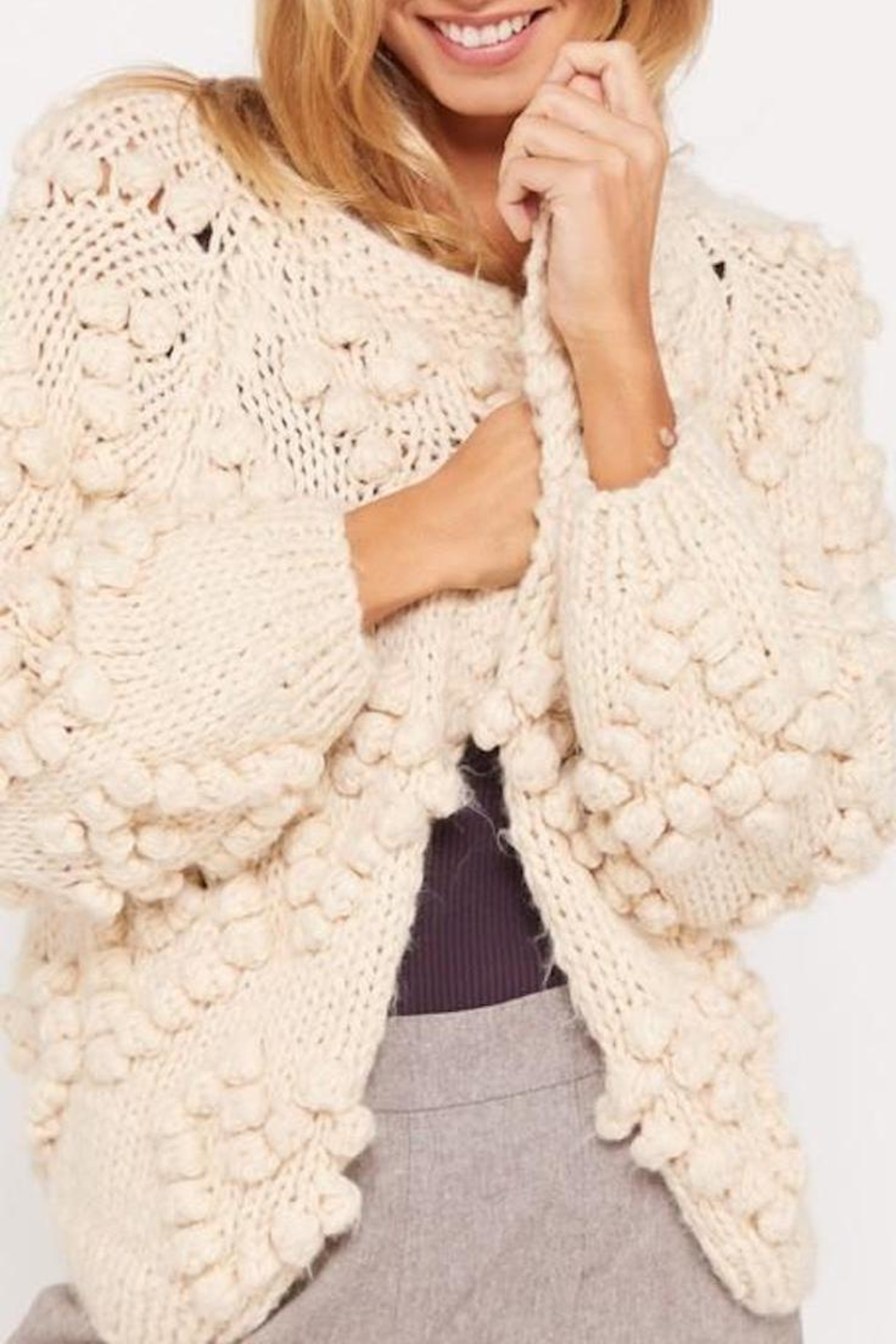Wishlist Cream Chunky Pompom-Sweater - Front Full Image