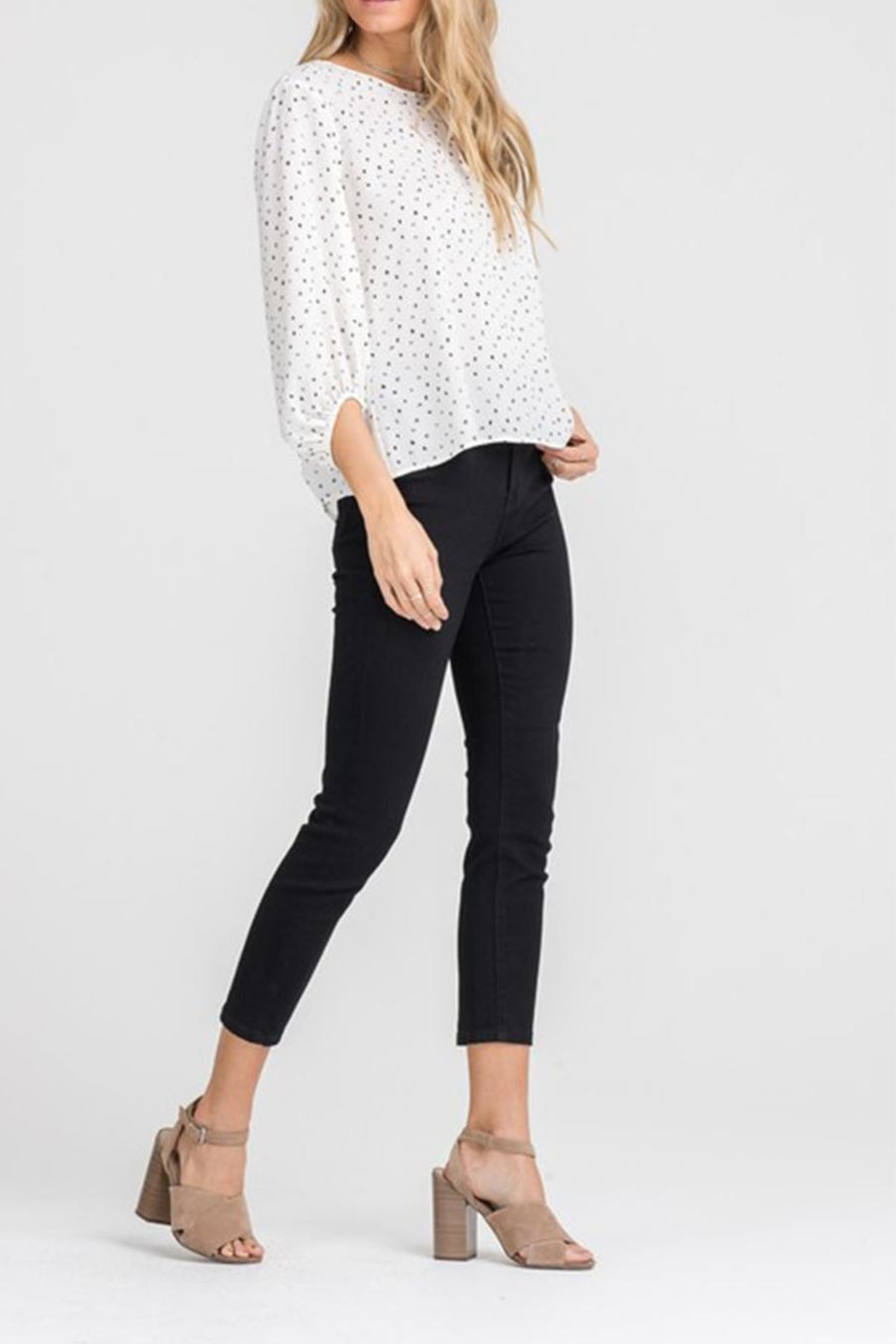 Lush Cream Dot Blouse - Side Cropped Image