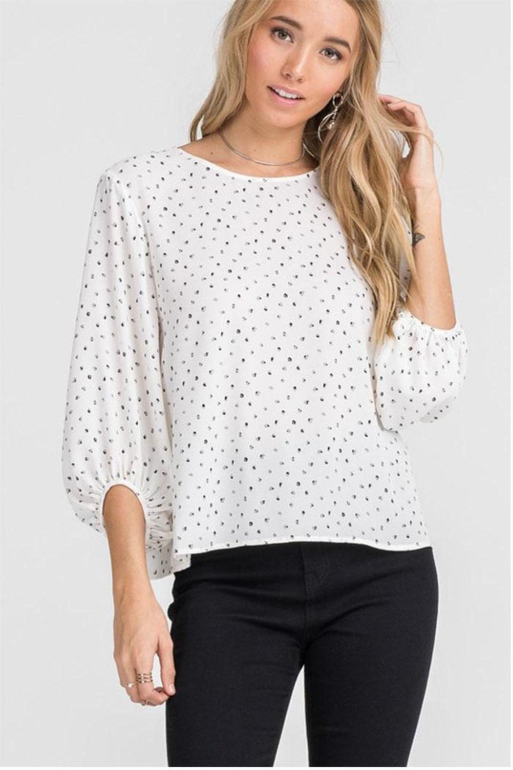Lush Cream Dot Blouse - Front Full Image