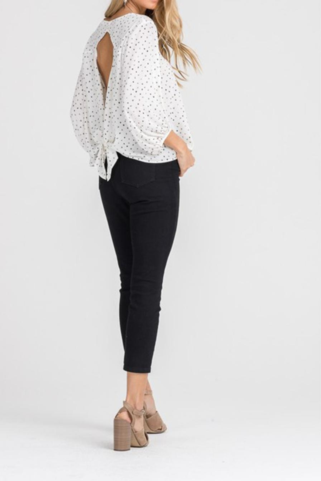 Lush Cream Dot Blouse - Back Cropped Image