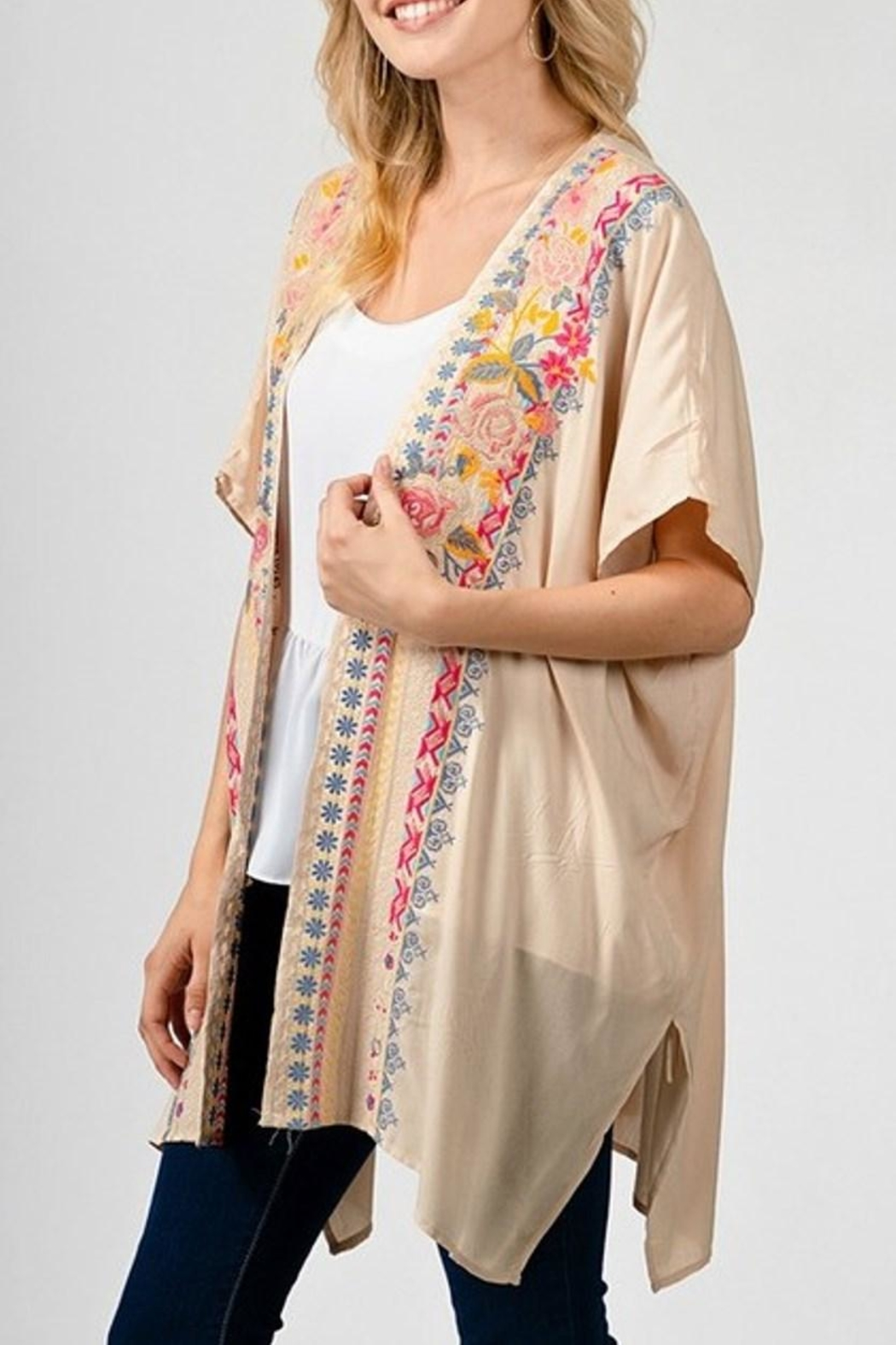 Andree by Unit Cream Embroidered Kimono - Front Full Image