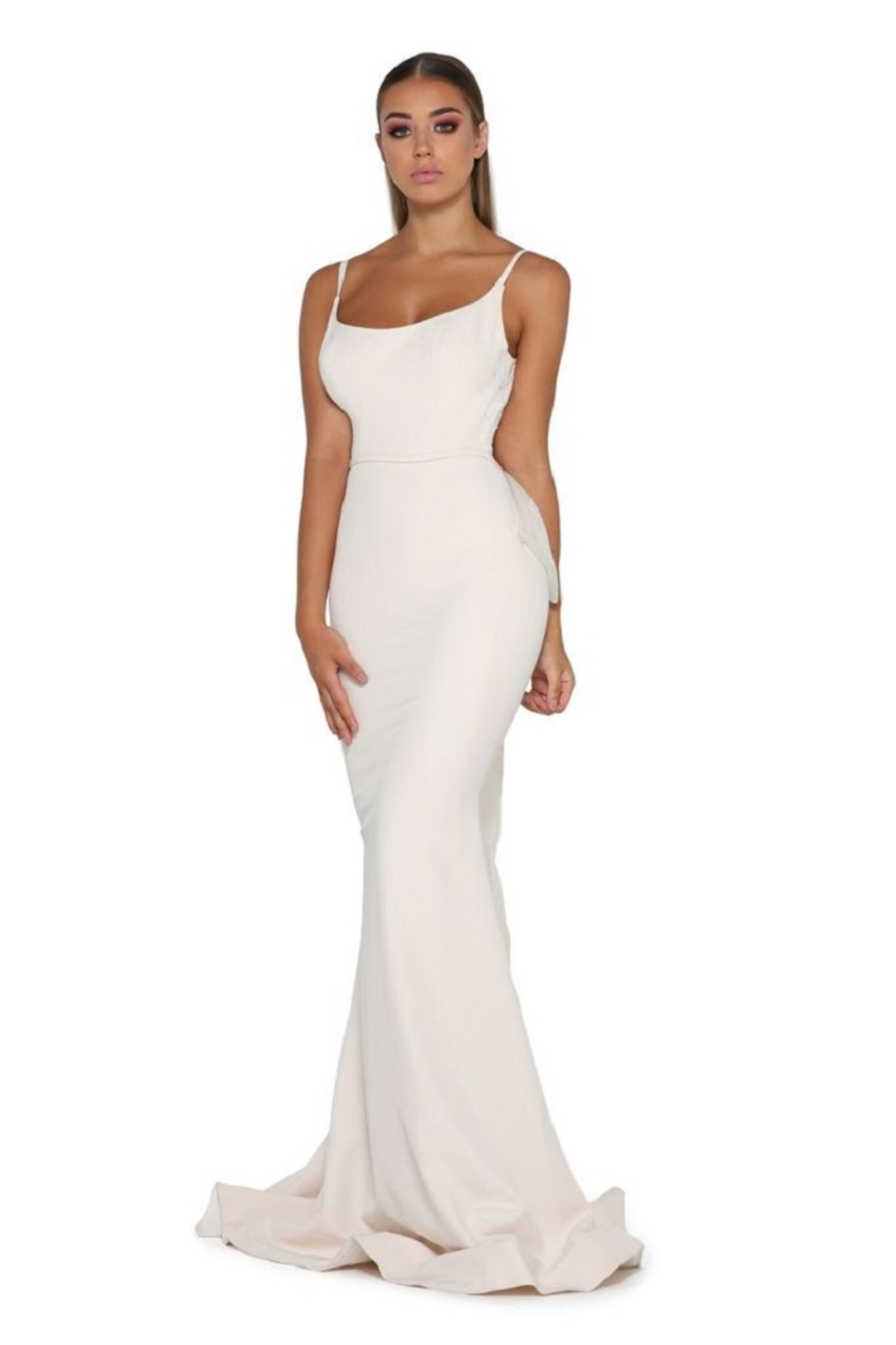 PORTIA AND SCARLETT Cream Fit & Flare Bridal Gown With Detachable Bow - Main Image