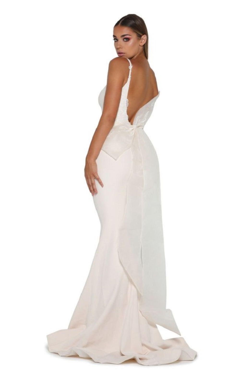 PORTIA AND SCARLETT Cream Fit & Flare Bridal Gown With Detachable Bow - Front Full Image