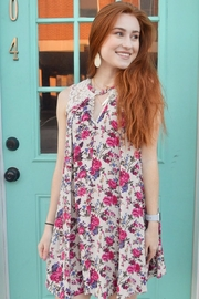 Umgee USA Cream Floral Dress - Front cropped