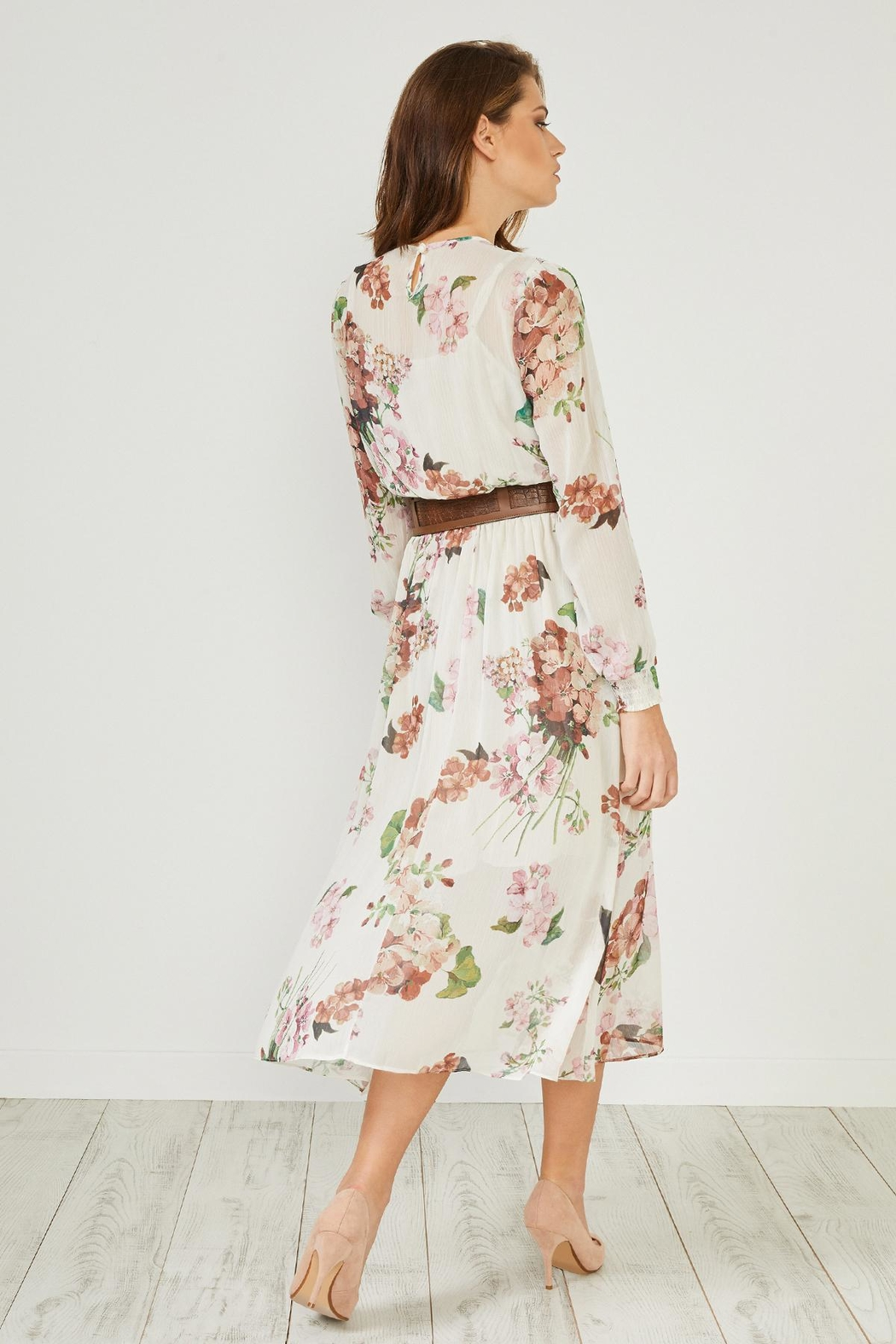 Urban Touch Cream Floral  Dress - Back Cropped Image