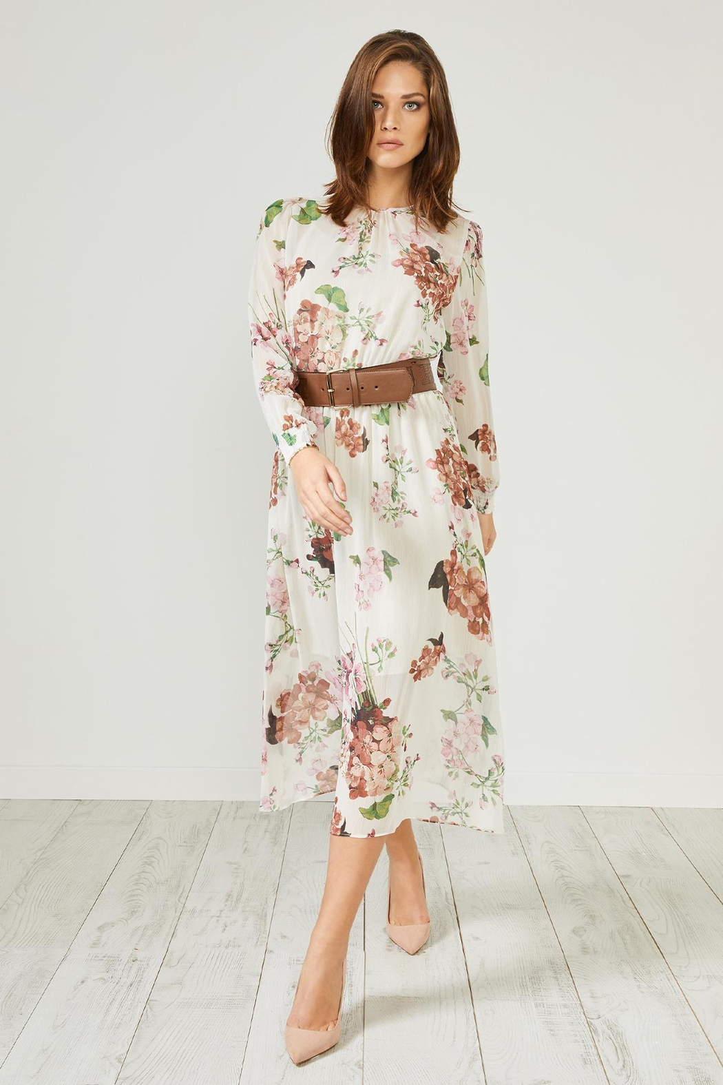 Urban Touch Cream Floral  Dress - Front Full Image