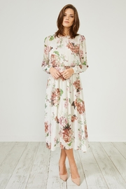 Urban Touch Cream Floral  Dress - Front cropped