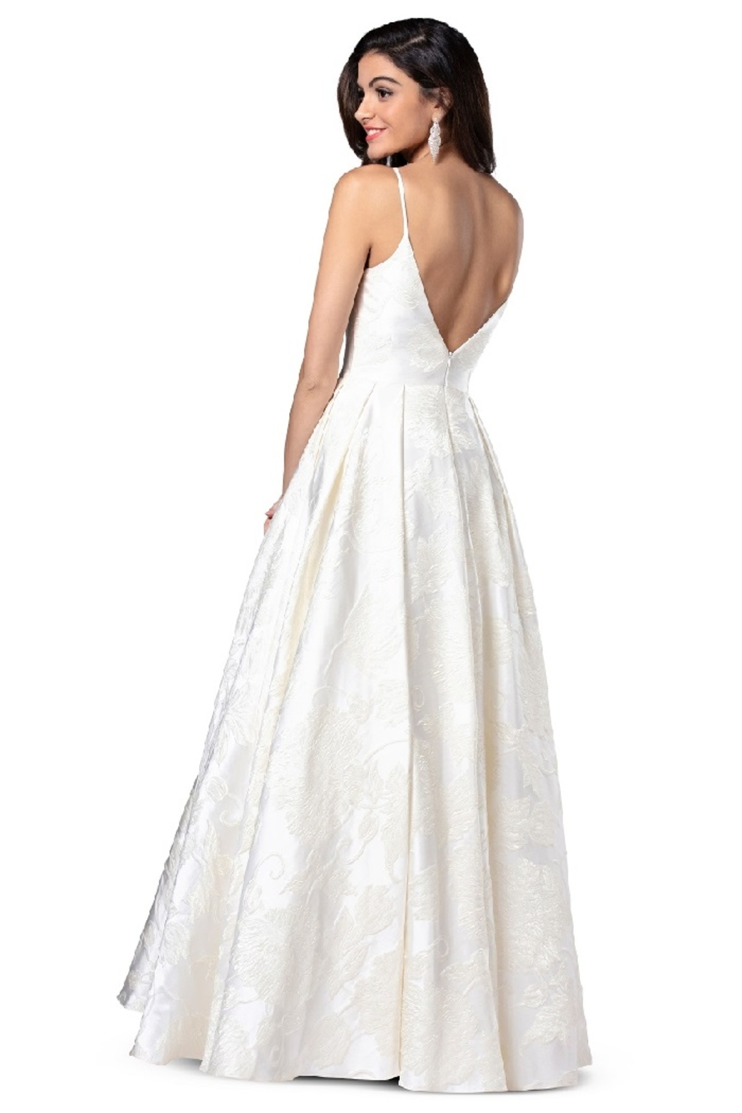 Flair New York Cream Floral Print Bridal Ballgown - Side Cropped Image