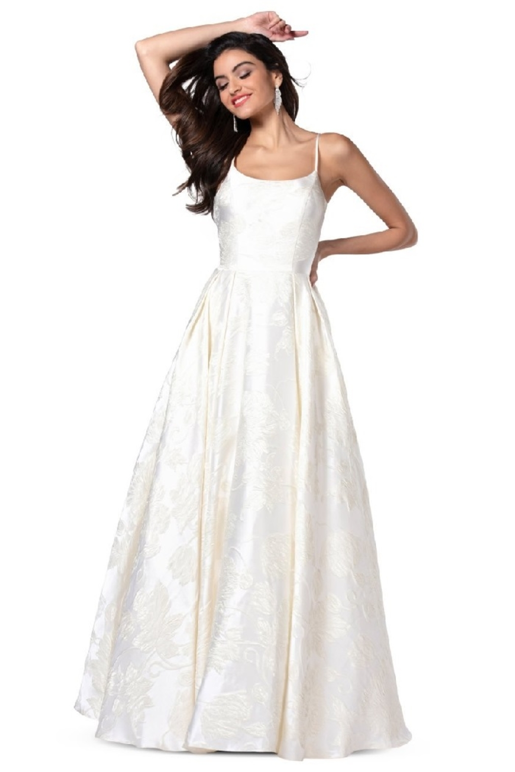 Flair New York Cream Floral Print Bridal Ballgown - Main Image
