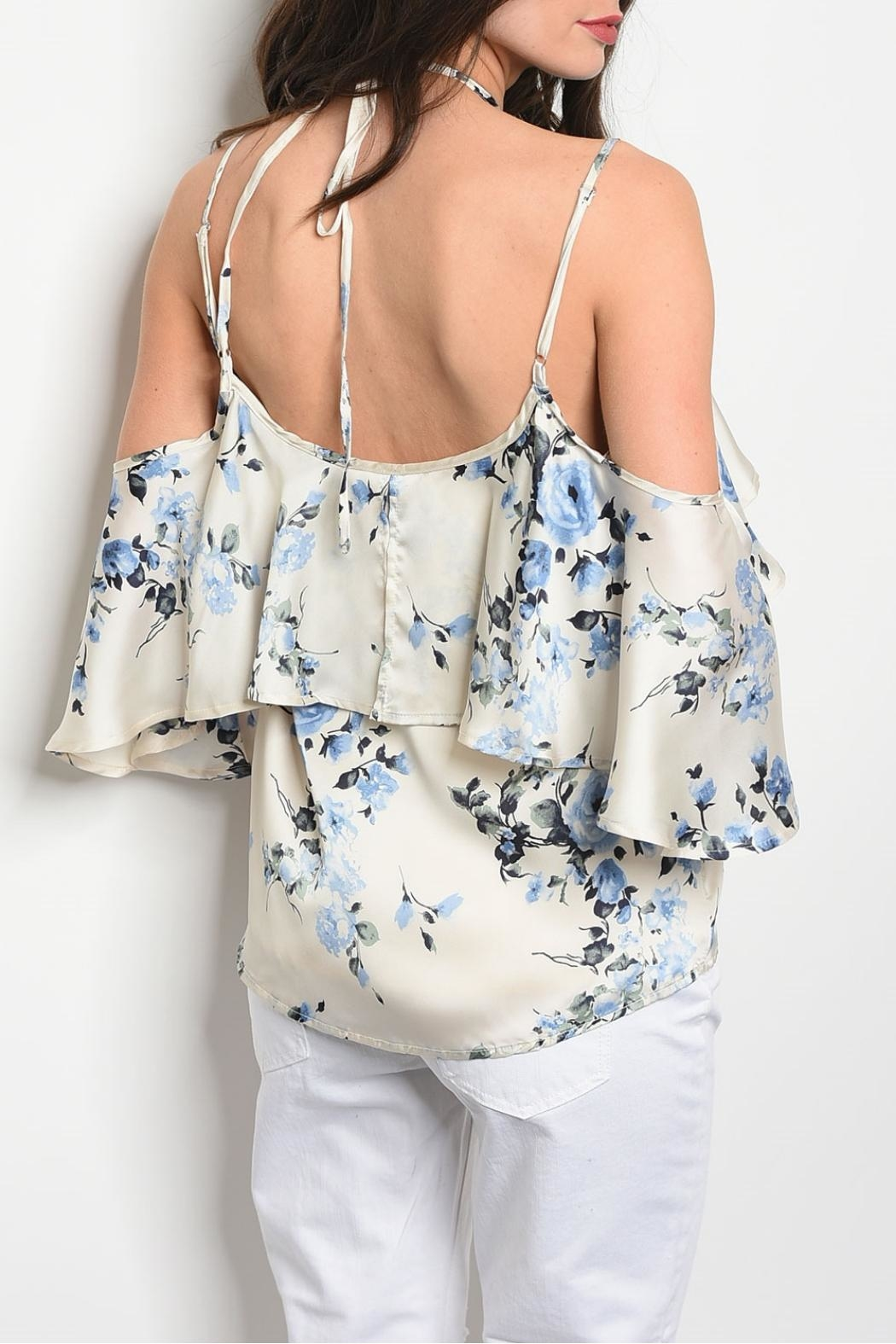 Honey Punch Cream Floral Top - Front Full Image