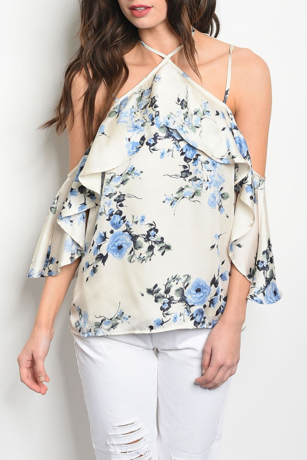 Honey Punch Cream Floral Top - Main Image