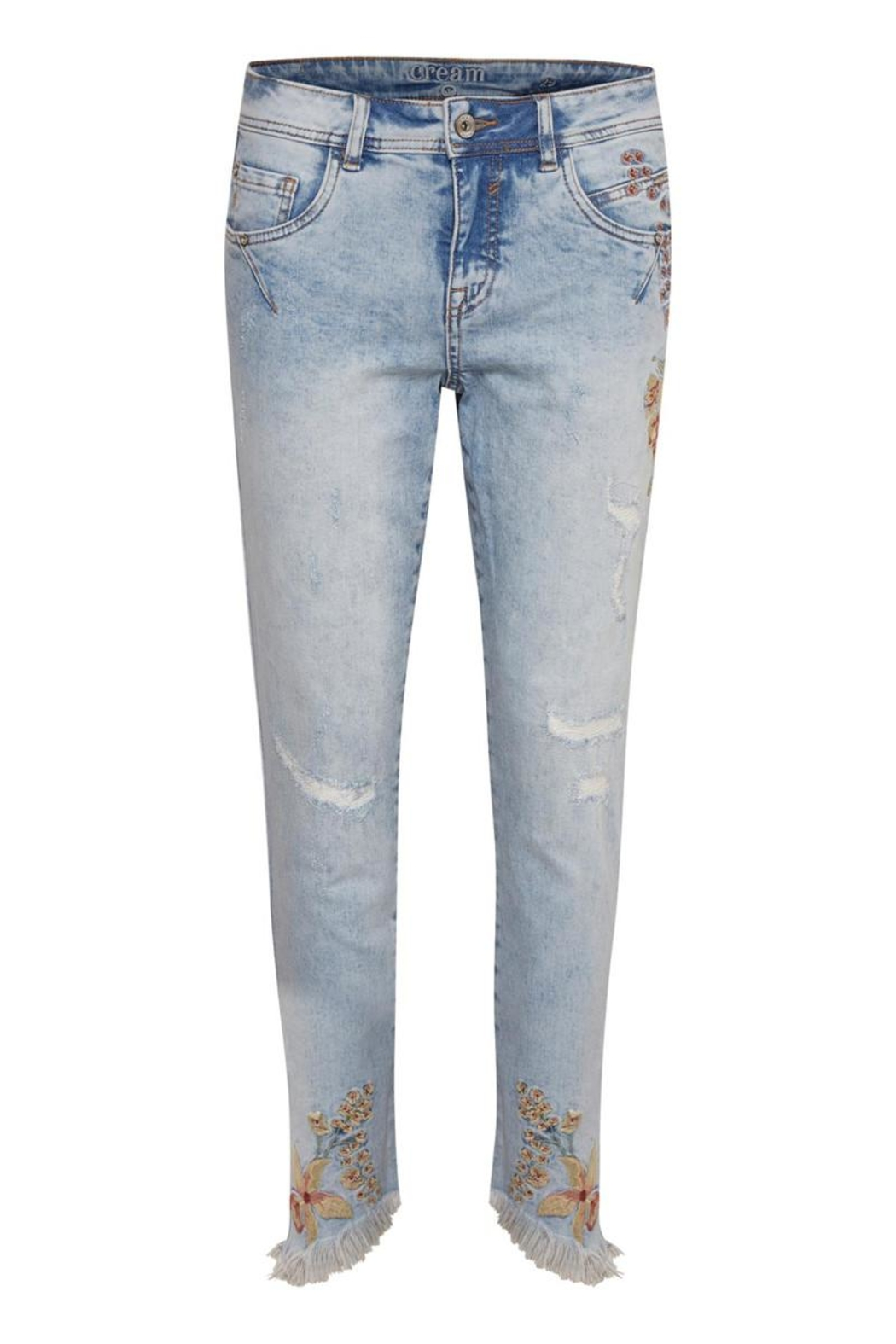 Cream Flower Jeans - Front Cropped Image