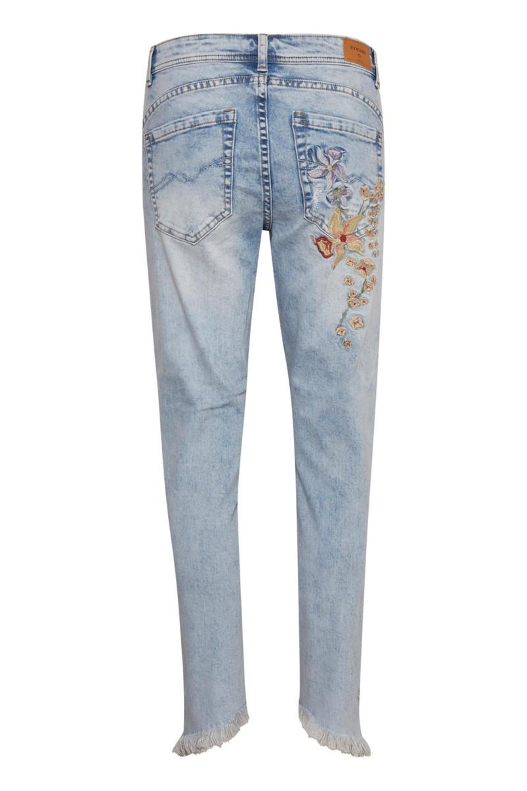 Cream Flower Jeans - Front Full Image