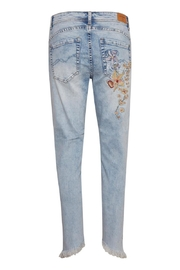 Cream Flower Jeans - Front full body