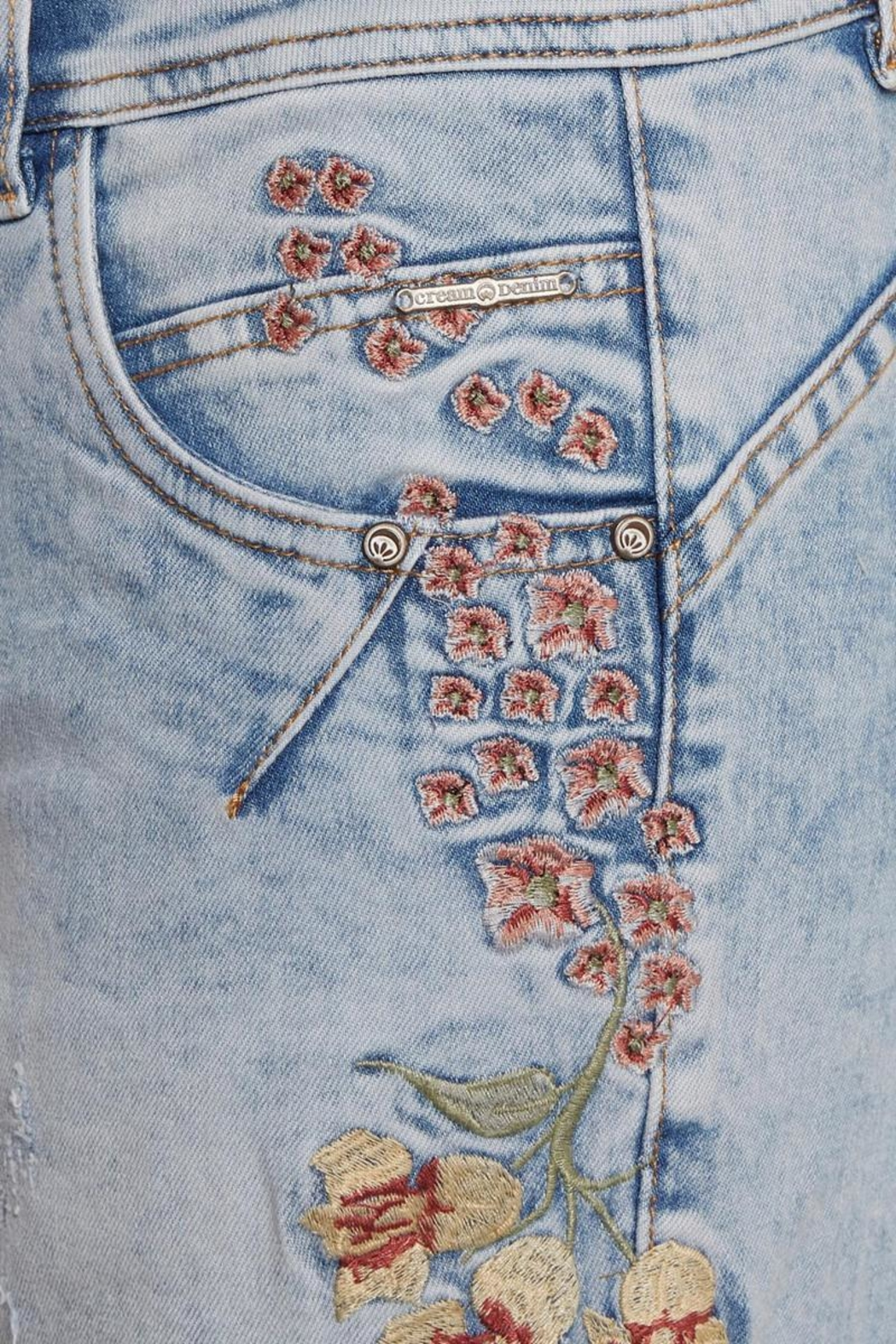 Cream Flower Jeans - Side Cropped Image