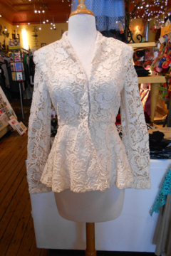 Shoptiques Product: Cream Flower Lace Jacket