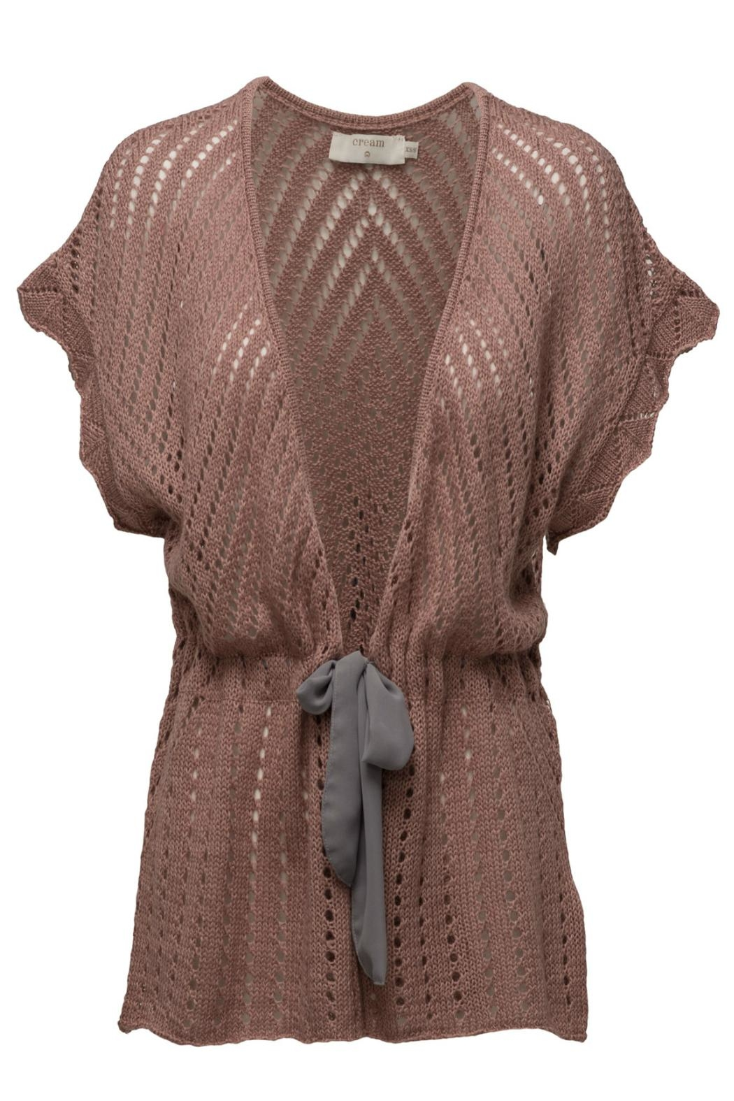 Cream Knit Open Cardigan - Front Cropped Image
