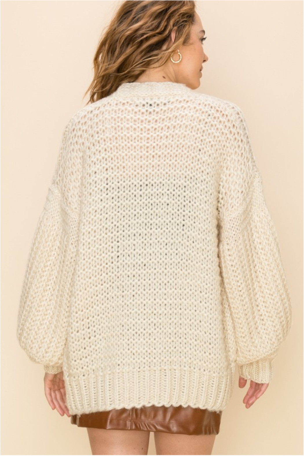 HYFVE Cream Knit Open Sweater - Side Cropped Image