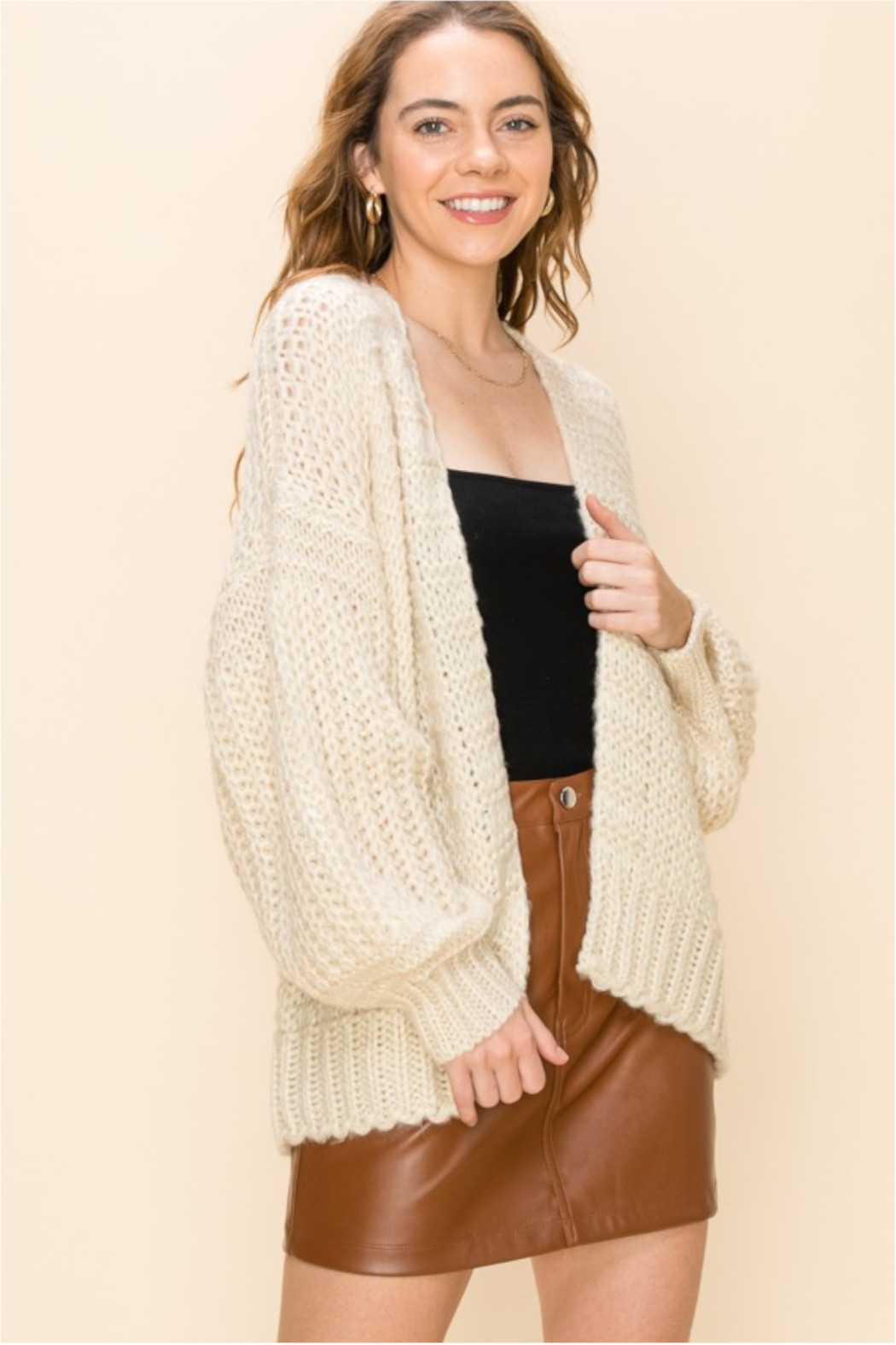 HYFVE Cream Knit Open Sweater - Front Cropped Image