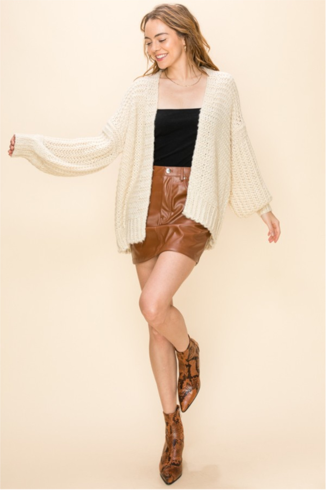 HYFVE Cream Knit Open Sweater - Back Cropped Image