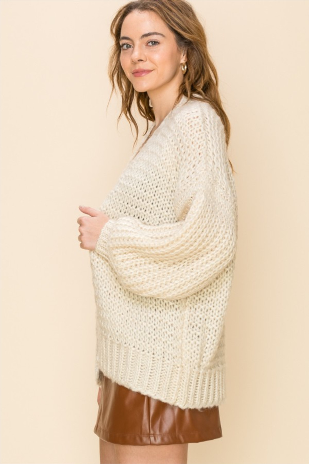 HYFVE Cream Knit Open Sweater - Front Full Image