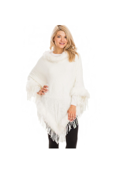 Cap Zone Cream Knit Poncho with Faux Fur Trim - Alternate List Image