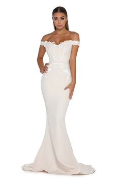 PORTIA AND SCARLETT Cream Lace Applique Fit & Flare Bridal Gown - Product List Image