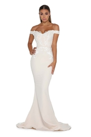 PORTIA AND SCARLETT Cream Lace Applique Fit & Flare Bridal Gown - Front cropped