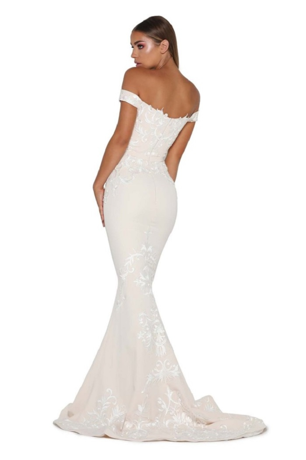 PORTIA AND SCARLETT Cream Lace Applique Fit & Flare Bridal Gown - Front Full Image