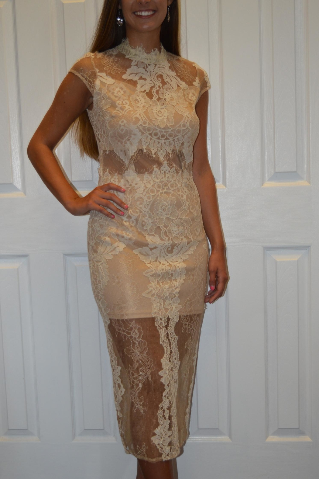 The Clothing Co Cream Lace Dress - Front Full Image