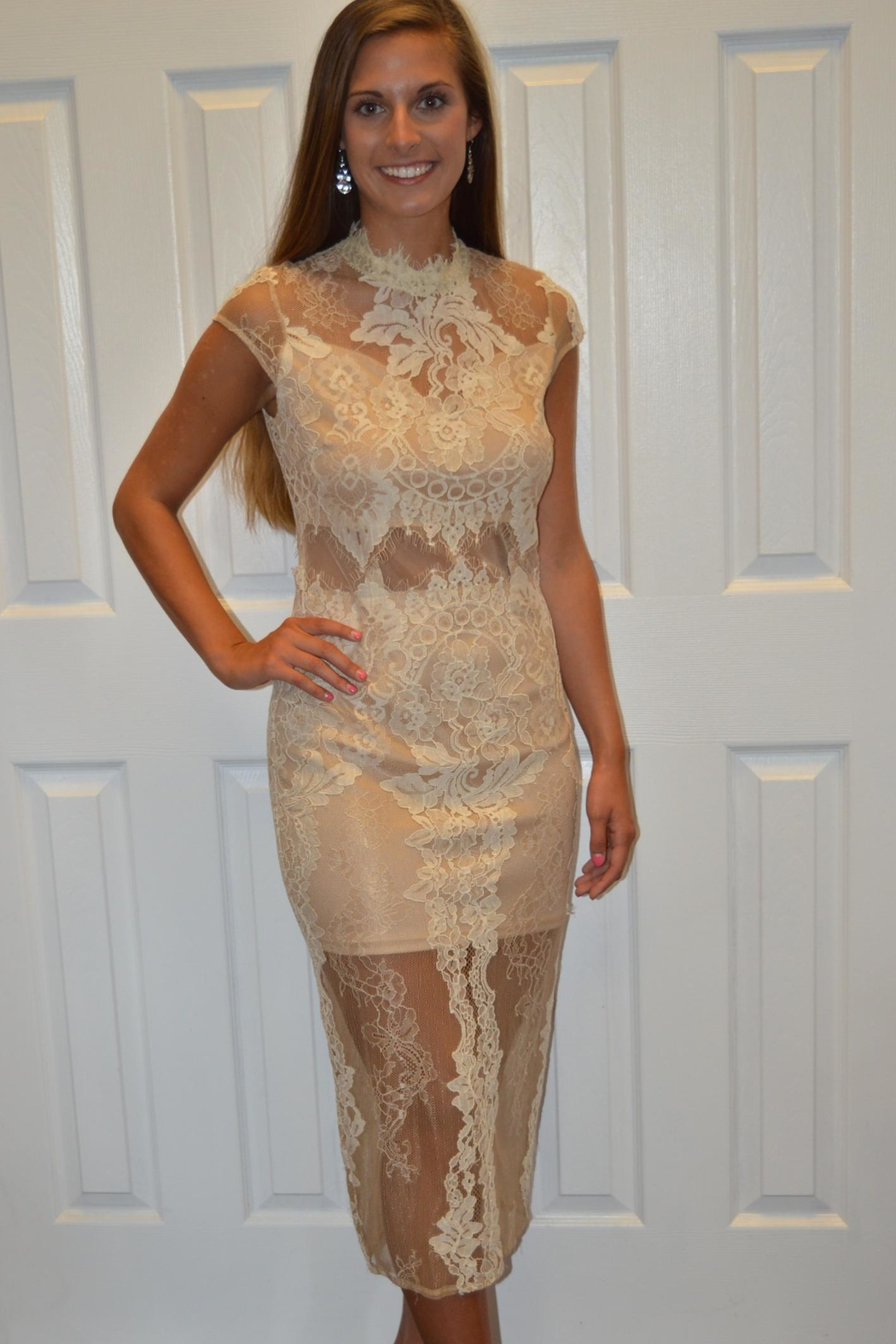 The Clothing Co Cream Lace Dress - Main Image